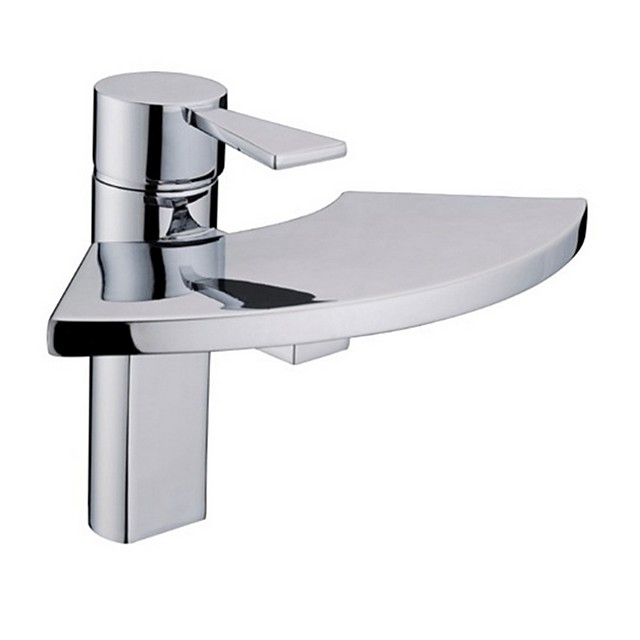 Bathroom Sink Faucet - Waterfall / Widespread Electroplated Centerset Single Handle One HoleBath Taps