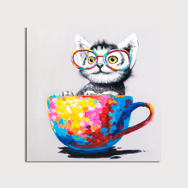 Hand Painted Canvas Oilpainting Abstract Animal Cat with Cup by Knife Home Decoration with Frame Painting Ready to Hang