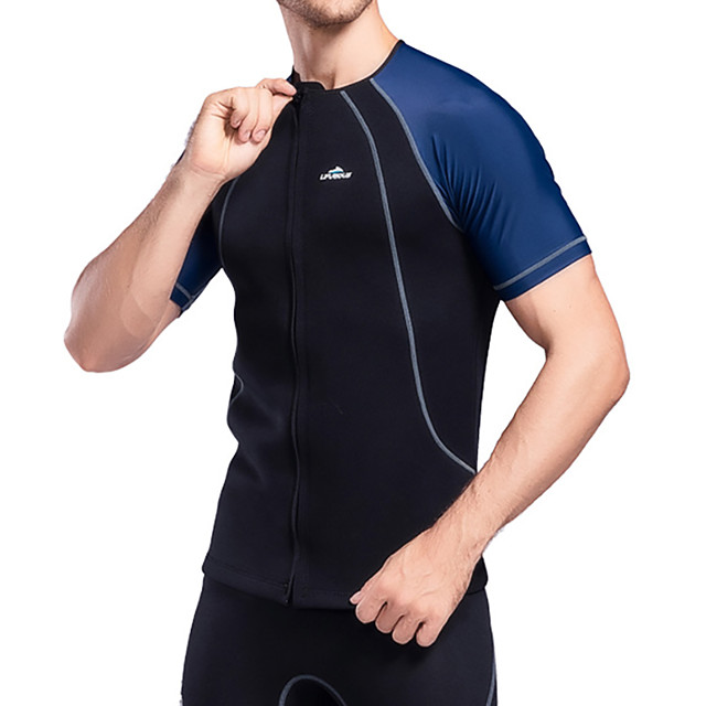 Men's Diving Rash Guard Swimwear Top Breathable Quick Dry Short Sleeve Front Zip - Swimming Water Sports Patchwork Autumn / Fall Spring Summer / High Elasticity