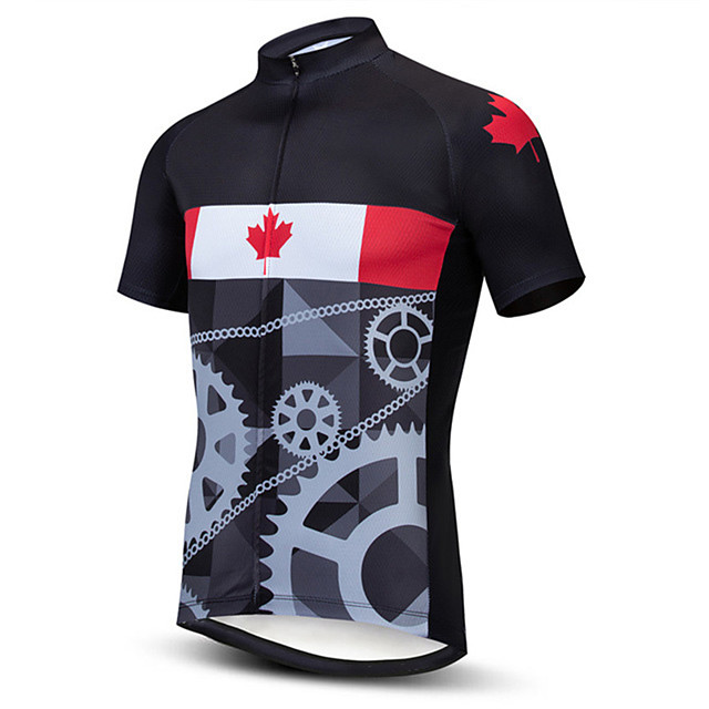 21Grams Men's Short Sleeve Cycling Jersey Dark Grey Gray+White Brown+Gray Stripes American / USA Italy Bike Jersey Top Mountain Bike MTB Road Bike Cycling UV Resistant Breathable Quick Dry Sports