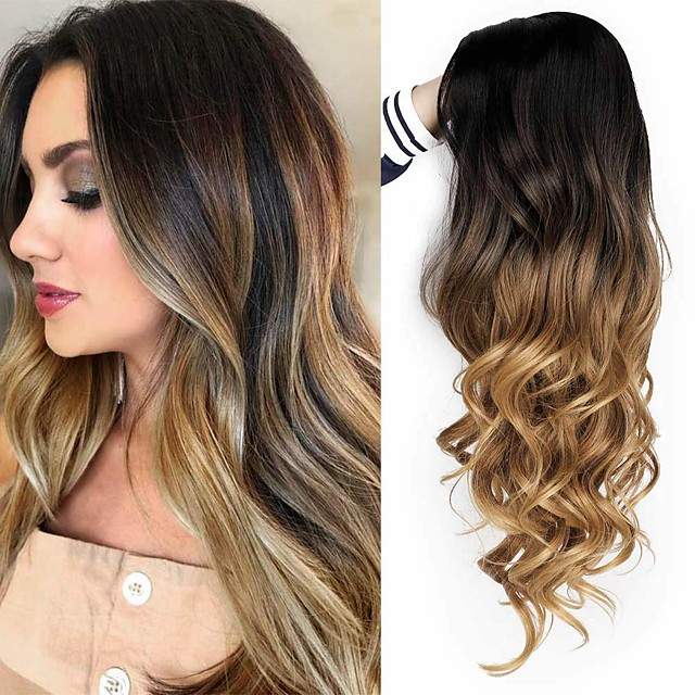 Synthetic Wig Curly Body Wave Halloween Asymmetrical Wig Long Ombre Brown Synthetic Hair 24 inch Women's Best Quality Brown