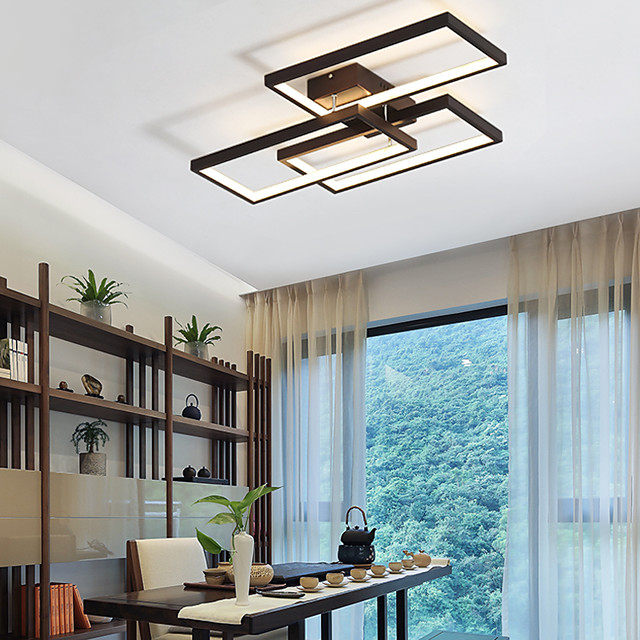 LED 60cm 3-Light Linear Flush Mount Ambient Light 42W Painted Finishes Aluminum Geometric Pattern Dimmable With Remote Control Warm White Cold White