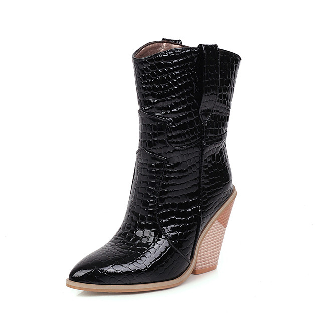 Women's Boots Chunky Heel Pointed Toe PU Mid-Calf Boots Vintage / British Fall & Winter Black / Wine / White / Party & Evening