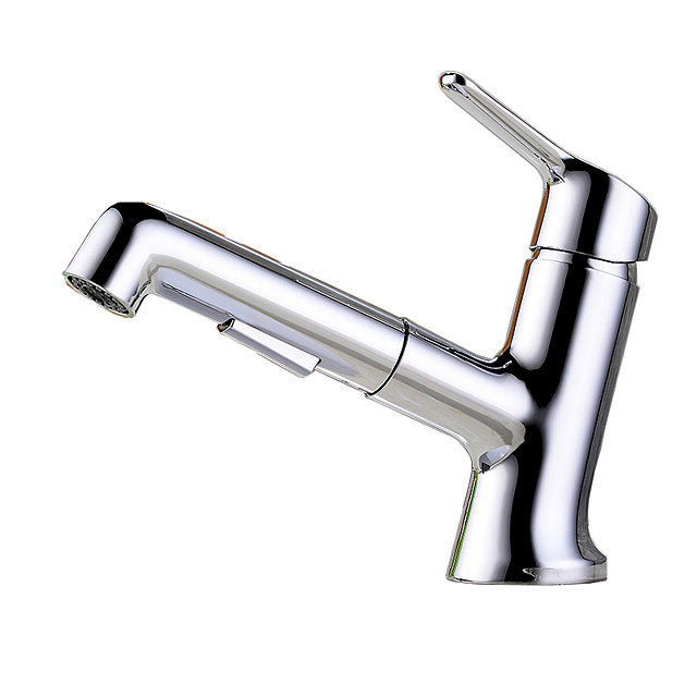 Bathroom Sink Faucet - Rotatable / Pullout Spray Chrome Centerset Single Handle One HoleBath Taps
