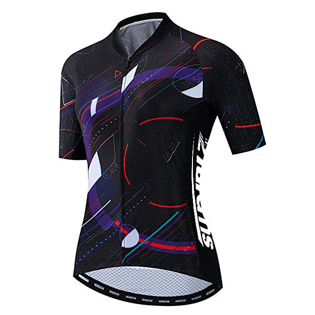 21Grams Women's Short Sleeve Cycling Jersey Black / Red Bike Jersey Top Mountain Bike MTB Road Bike Cycling UV Resistant Breathable Quick Dry Sports Clothing Apparel / Stretchy / Race Fit
