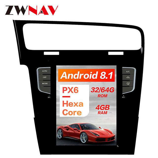 ZWNAV 10.4 inch Android 8.1 1DIN Tesla style DSP PX6 Car GPS Navigation In-Dash Car DVD Player Car multimedia player radio tape recorder For Volkswagen Golf 7 2010-2018