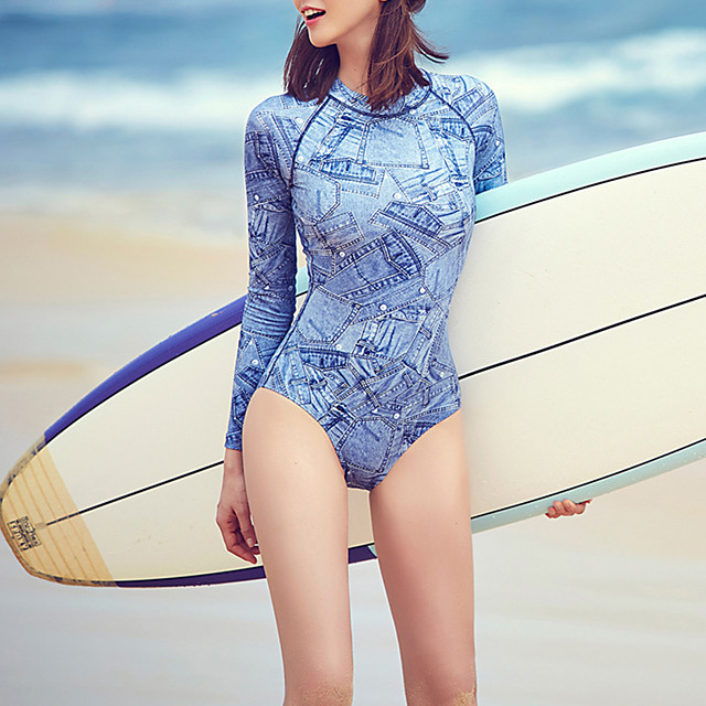 Women's One Piece Swimsuit Retro Padded Swimwear Swimwear Blue Breathable Quick Dry Comfortable Long Sleeve - Swimming Water Sports Summer / Elastane / High Elasticity