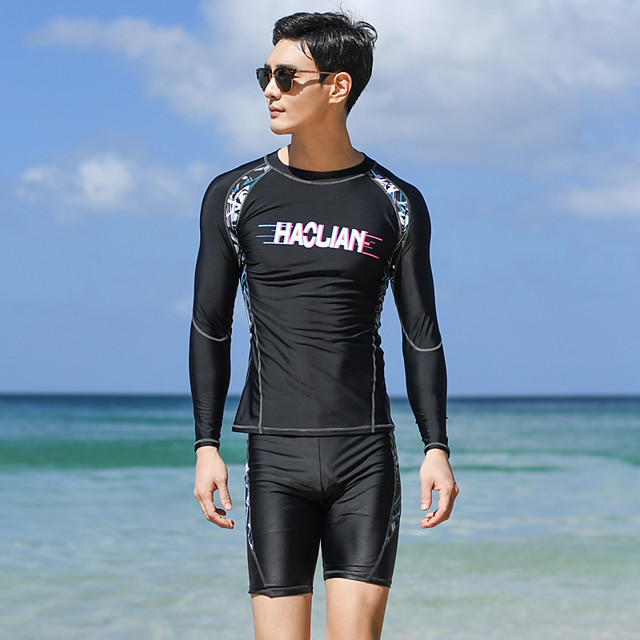 Men's Rash Guard Dive Skin Suit Two Piece Swimsuit Elastane Swimwear UV Sun Protection Breathable Quick Dry Long Sleeve Swimming Surfing Water Sports Patchwork Autumn / Fall Spring Summer