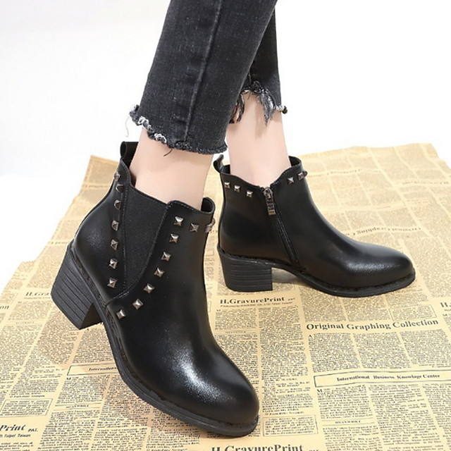 Women's Boots Fall & Winter Chunky Heel Round Toe Daily Solid Colored Suede Booties / Ankle Boots Black