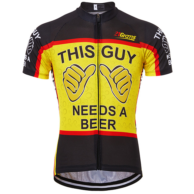 21Grams Men's Short Sleeve Cycling Jersey Summer Black / Red Black / Yellow Red+Blue Retro Novelty Oktoberfest Beer Bike Jersey Anatomic Design Quick Dry Breathable Reflective Strips Back Pocket