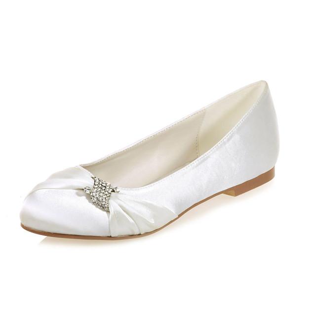 Women's Wedding Shoes Flat Heel Round Toe Rhinestone Satin Sweet Spring & Summer White / Purple / Champagne / Party & Evening