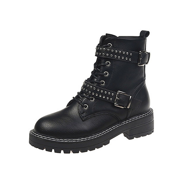 Women's Boots Flat Heel Round Toe PU Booties / Ankle Boots Fall & Winter Black