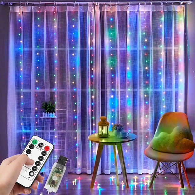 3x2M Window Curtain String Light 200 LED 8 Lighting Modes Christmas Decorating Lights Window Lights for Bedroom Party Wedding Home Indoor Outdoor Waterproof