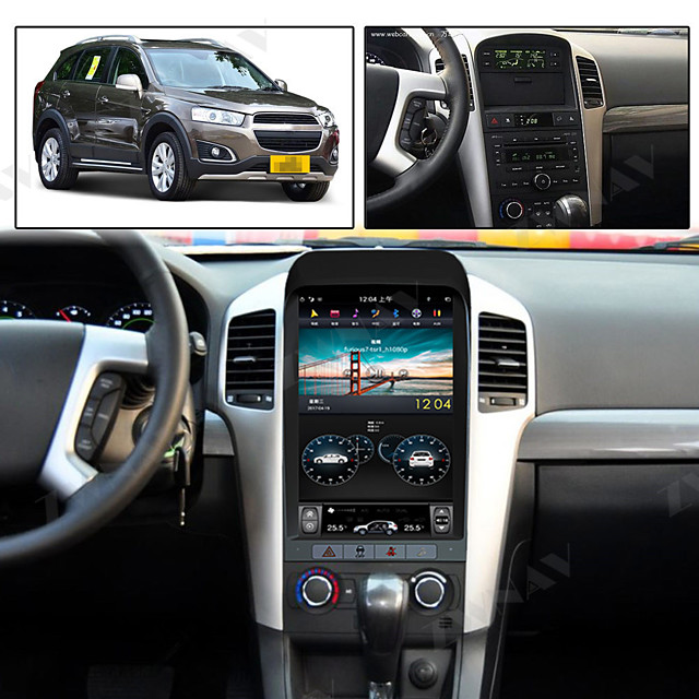 ZWNAV 13.5inch 1din Android 8.1 PX6 Car Multimedia Player Tesla style GPS Navigation 4GB 64GB Auto radio tape recorder For Chevrolet Captiva 2007-2012