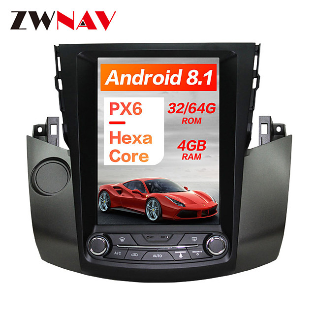 ZWNAV 10.4Iinch 1DIN Android 8.1 Tesla Style 4GB 64GB Car MP5 Player Car GPS navigation Car multimedia player For Toyota RAV4 2006-2012