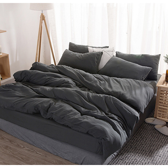 Duvet Cover Sets 4 Piece Linen / Cotton Solid Colored White Printed Simple