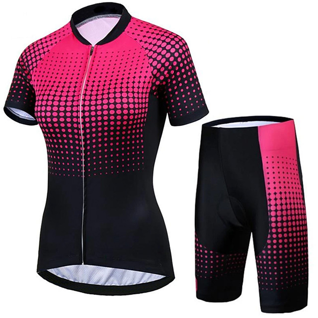 21Grams Women's Short Sleeve Cycling Jersey with Shorts Black / Red Bike Clothing Suit Breathable 3D Pad Quick Dry Ultraviolet Resistant Sweat-wicking Sports Solid Color Mountain Bike MTB Road Bike