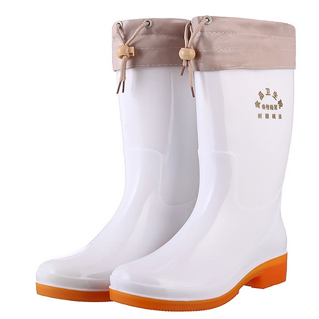 Women's Boots Flat Heel Round Toe PVC Mid-Calf Boots Winter White