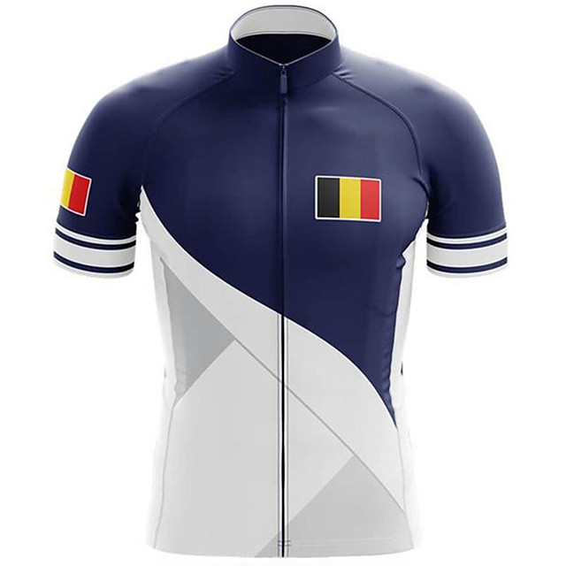 21Grams Men's Short Sleeve Cycling Jersey Blue / White Belgium National Flag Bike Jersey Top Mountain Bike MTB Road Bike Cycling UV Resistant Breathable Quick Dry Sports Clothing Apparel / Stretchy