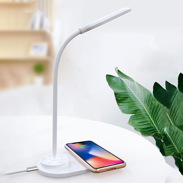 Desk Lamp with Wireless Charging Station for Phone Home Office Eye Protection USB Powered Flexible Adjustable Arm Soft Blue-green Lamp