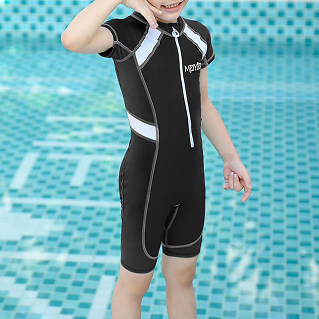 Boys' Girls' Rash Guard Dive Skin Suit Bodysuit UV Sun Protection Breathable Short Sleeve Front Zip - Swimming Water Sports Patchwork Autumn / Fall Spring Summer / Kid's