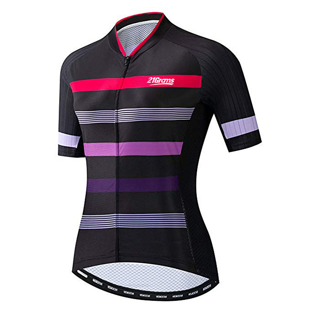 21Grams Women's Short Sleeve Cycling Jersey Black / Red Stripes Bike Jersey Top Mountain Bike MTB Road Bike Cycling UV Resistant Breathable Quick Dry Sports Clothing Apparel / Stretchy / Race Fit