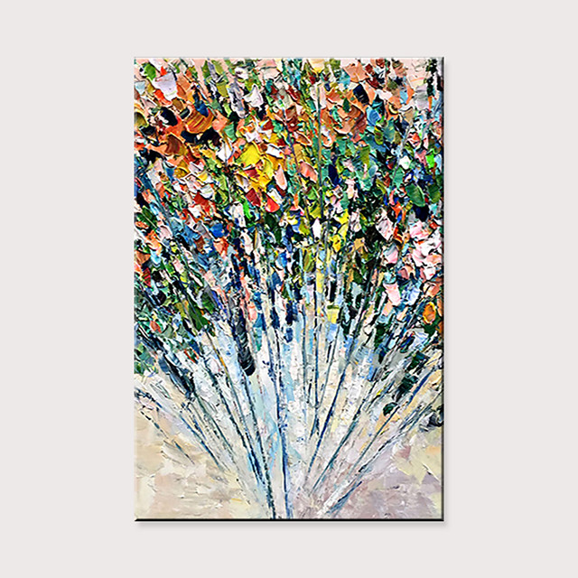 Hand-Painted Abstract Thick Oil Knife Painting Flower Family Hotel Wall Large Size Decorative Oil Painting