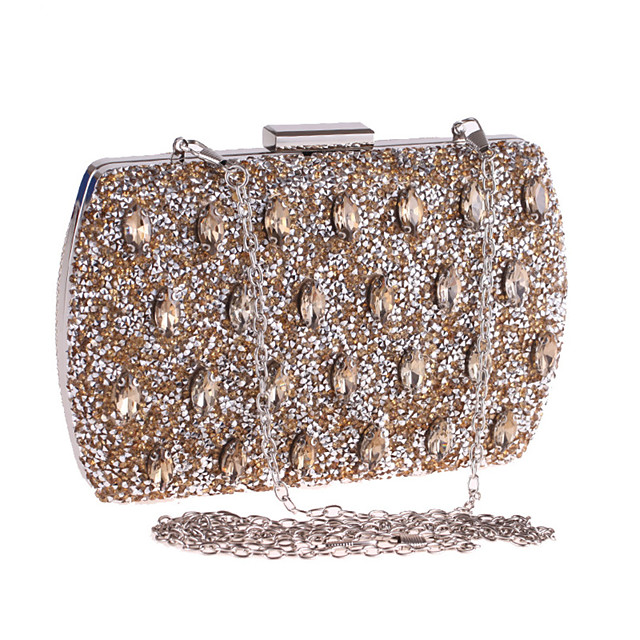 Women's Crystals / Chain Polyester Evening Bag Solid Color Gold / Silver / Blue