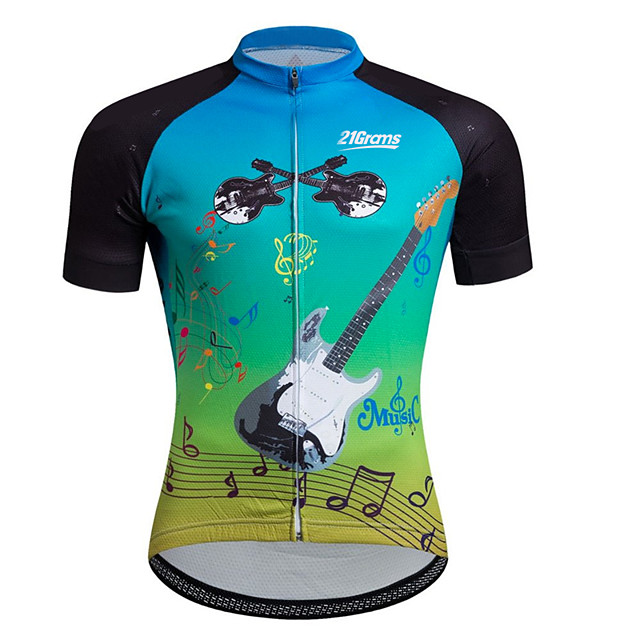 21Grams Men's Short Sleeve Cycling Jersey Black / Blue Stripes Patchwork Gradient Bike Jersey Top Mountain Bike MTB Road Bike Cycling UV Resistant Breathable Quick Dry Sports Clothing Apparel
