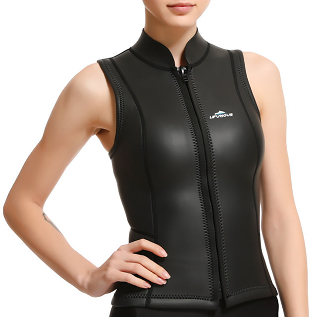 Women's Sleeveless Wetsuit 3mm SCR Neoprene Diving Suit Stretchy Sleeveless Front Zip Solid Colored Autumn / Fall Spring Summer / Winter / High Elasticity