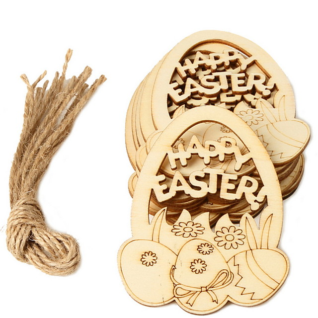 Happy Easter bunny egg Holiday Decorations wood hanging objects