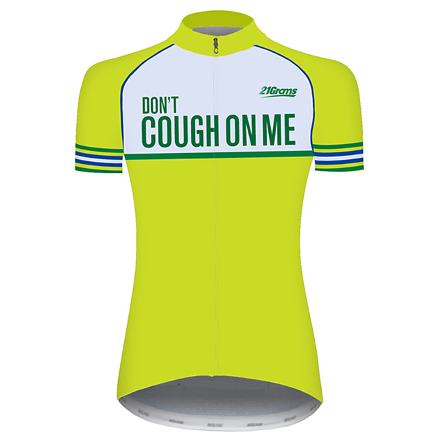 21Grams Women's Short Sleeve Cycling Jersey Yellow Novelty Bike Jersey Top Mountain Bike MTB Road Bike Cycling UV Resistant Breathable Quick Dry Sports Clothing Apparel / Stretchy / Race Fit