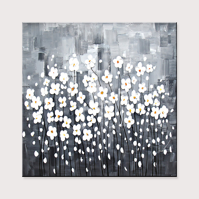 Hand Painted Abstract Flower Black And White Oil Painting On Canvas Home Decor Original Hand Painted Art