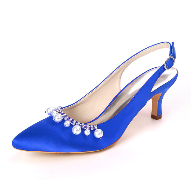 Women's Wedding Shoes Stiletto Heel Pointed Toe Rhinestone / Pearl Satin Sweet Spring & Summer White / Purple / Champagne / Party & Evening