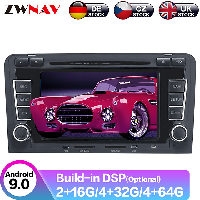 ZWNAV Android 9.0 2DIN 4GB 64GB PX6 Car DVD player Car GPS Navigation car Multimedia Player Car MP5 Player Auto radio Stereo For Audi A3 S3 2003-2012