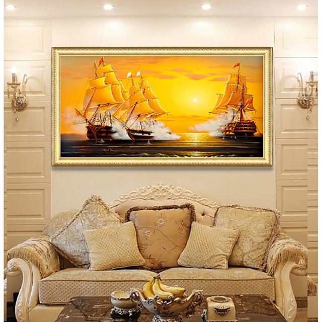 Framed Art Print Elegant Design Antique Golden Wood Framed Canvas Sailboat Seascape Smooth Sailing PS Oil Painting Wall Art