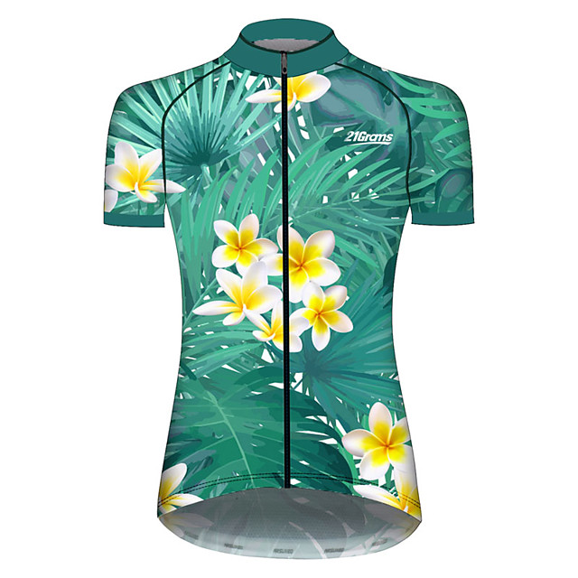 21Grams Women's Short Sleeve Cycling Jersey Green / Yellow Leaf Floral Botanical Bike Jersey Top Mountain Bike MTB Road Bike Cycling UV Resistant Breathable Quick Dry Sports Clothing Apparel