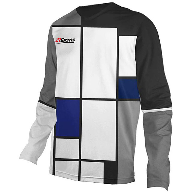 21Grams Men's Long Sleeve Cycling Jersey Downhill Jersey Dirt Bike Jersey Polyester Spandex Gray+White Plaid / Checkered Bike Jersey Top Mountain Bike MTB Road Bike Cycling UV Resistant Breathable