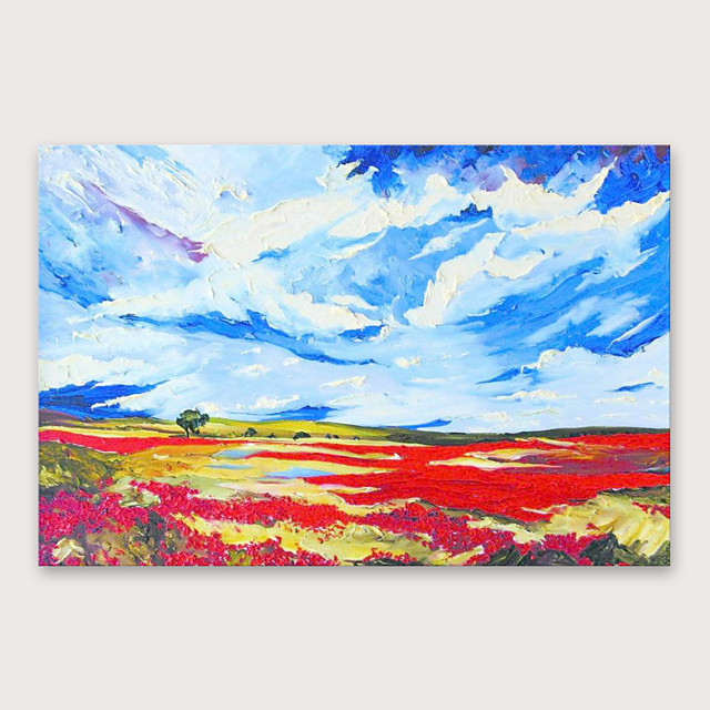IARTS®Hand Painted Red fields blue sky Oil Painting   with Stretched Frame For Home Decoration