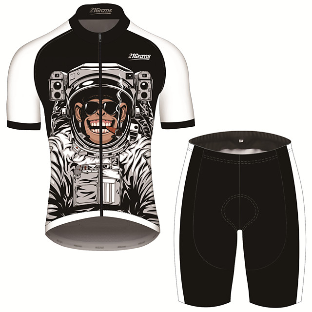 21Grams Men's Short Sleeve Cycling Jersey with Shorts Black / White Animal Astronaut Monkey Bike Clothing Suit UV Resistant Breathable 3D Pad Quick Dry Sweat-wicking Sports Animal Mountain Bike MTB