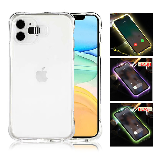 Call Light Case For iPhone 11 Pro XR XS MAX 6 6S 7 8 Shockproof Clear LED Flash TPU Case For iPhone 11 Pro