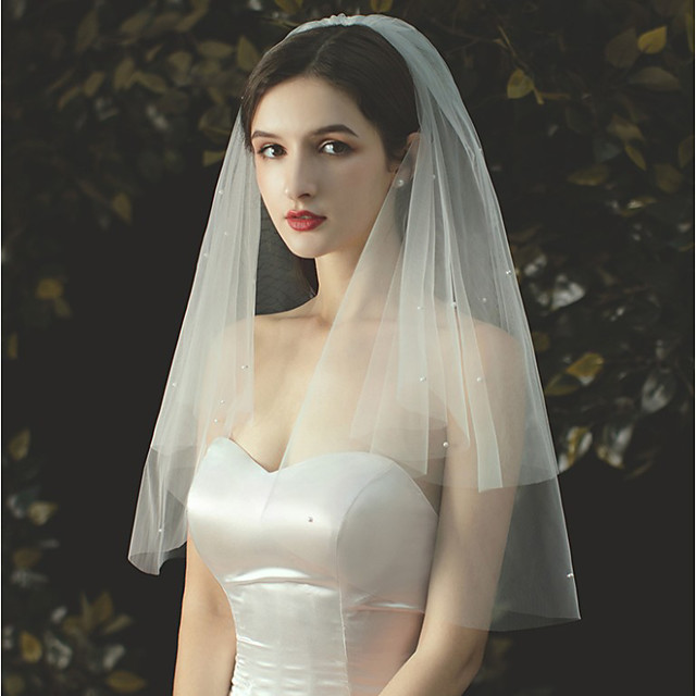 Two-tier Pearl Trim Edge / Sweet Wedding Veil Elbow Veils with Faux Pearl / Solid 27.56 in (70cm) Tulle