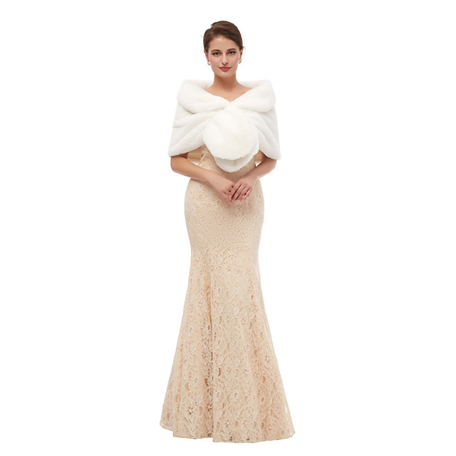 Sleeveless Shawls Faux Fur Wedding Women's Wrap With Solid