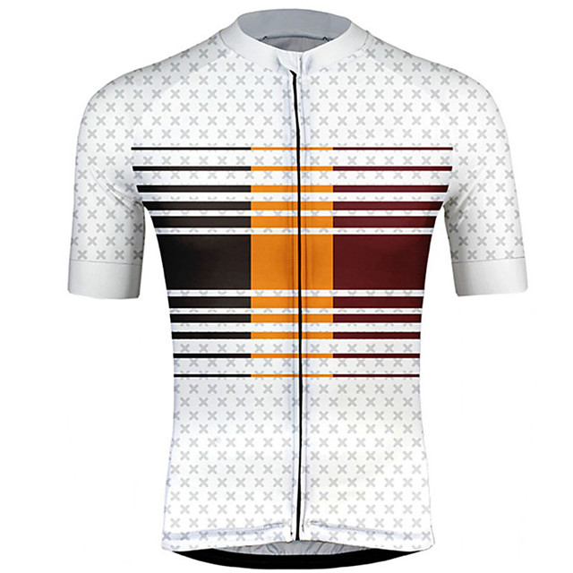 21Grams Men's Short Sleeve Cycling Jersey Red / White Stripes Gradient Bike Jersey Top Mountain Bike MTB Road Bike Cycling UV Resistant Breathable Quick Dry Sports Clothing Apparel / Stretchy