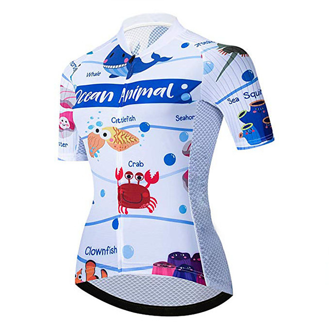 21Grams Women's Short Sleeve Cycling Jersey Blue / White Animal Bike Jersey Top Mountain Bike MTB Road Bike Cycling UV Resistant Breathable Quick Dry Sports Clothing Apparel / Stretchy / Race Fit