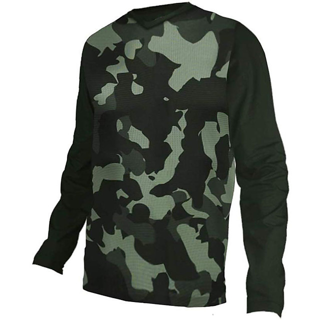 21Grams Men's Long Sleeve Cycling Jersey Downhill Jersey Dirt Bike Jersey Camouflage Camo / Camouflage Bike Jersey Top Mountain Bike MTB Road Bike Cycling UV Resistant Breathable Quick Dry Sports