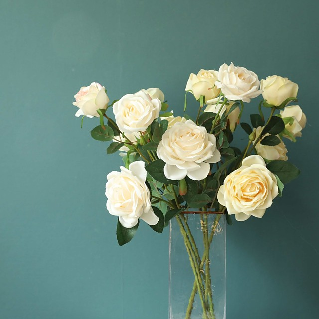 Artificial Flowers 1 Branch Classic Wedding European Roses Eternal Flower Tabletop Flower