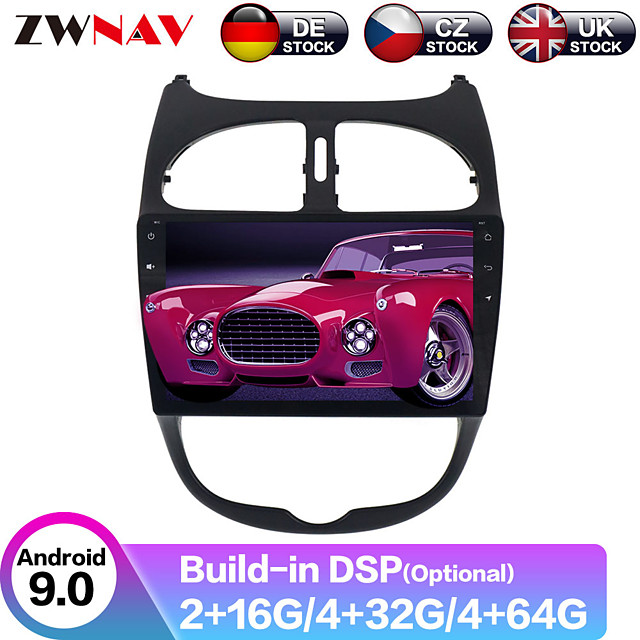 ZWNAV 9inch 1din IPS 2.5D 4GB 64GB Android 9.0 Car Multimedia player Car MP5 Player Car stereo auto GPS navigation radio tape recorder For Peugeot 206 2000-2016