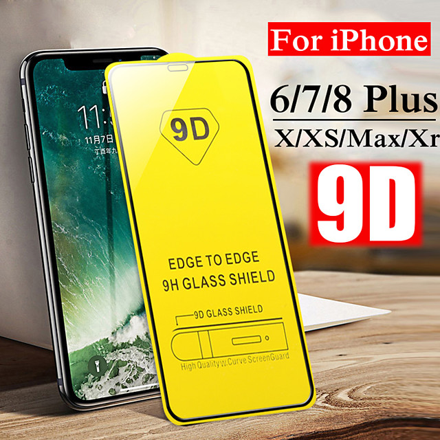 9D Hard Screen Protective Glass For iPhone 7 8 6 6S Plus XS Max X XR 11 Pro Max Toughed Front Film Tempered Glass