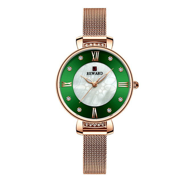 Women's Steel Band Watches Luxury Sparkle Stainless Steel Chinese Quartz White+Coffee Gold Green Water Resistant / Waterproof 30 m 1 pc Analog One Year Battery Life